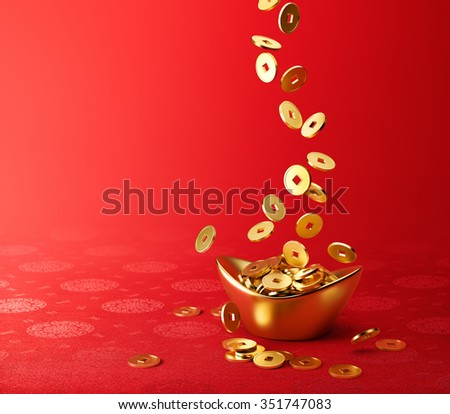 Gold coins dropping on gold sycee ( yuanbao ) - red chinese fabric with oriental motifs background