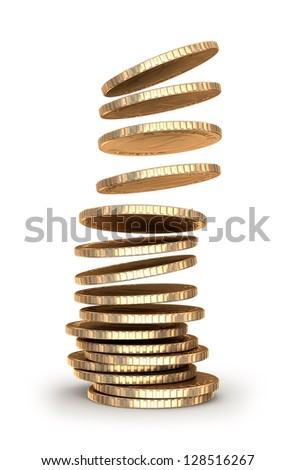 Gold coins falling in pile