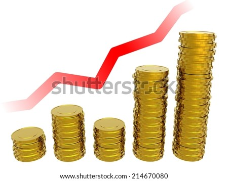 Gold coins. Gold coins on the background of the chart. 3d illustration.
