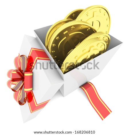Gold coins in a gift box. 3d render isolated on white background - stock photo