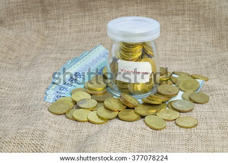 Gold coins in bottle  with word treatment ,Saving concepts - stock photo