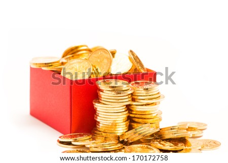 gold coins in red box - stock photo