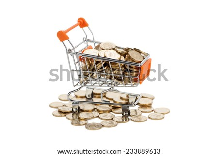 Gold coins in shopping cart