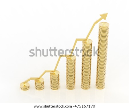 Gold coins increasing graph 3d rendering