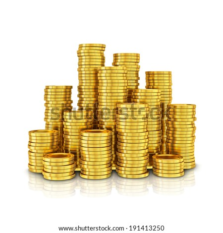 Gold coins isolated on a white background. - stock photo