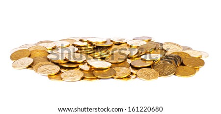 Gold coins, isolated on white