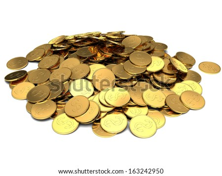 Gold coins isolated on white background - stock photo
