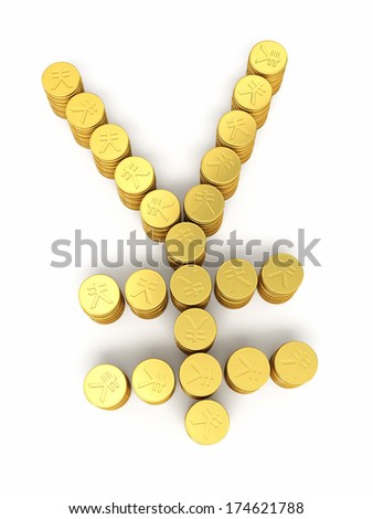 Gold coins japan yen sign (isolated on white and clipping path) - stock photo