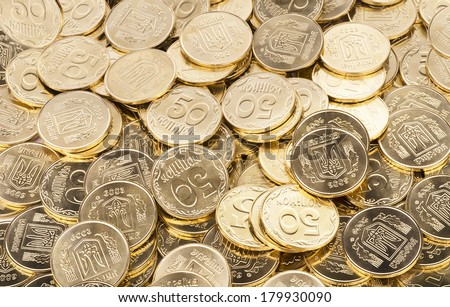 gold coins, money - stock photo