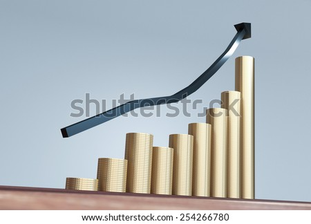 Gold coins money stack rising with arrow pointing up - stock photo