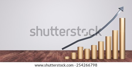 Gold coins money stack rising with arrow pointing up and space for text on the left side - stock photo
