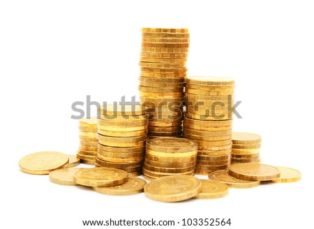 Gold coins. On a white background. - stock photo