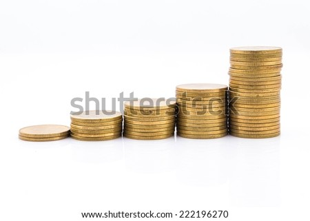 Gold coins on white background. - stock photo