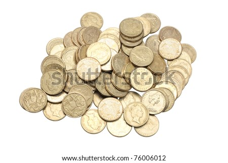 Gold Coins on White Background - stock photo