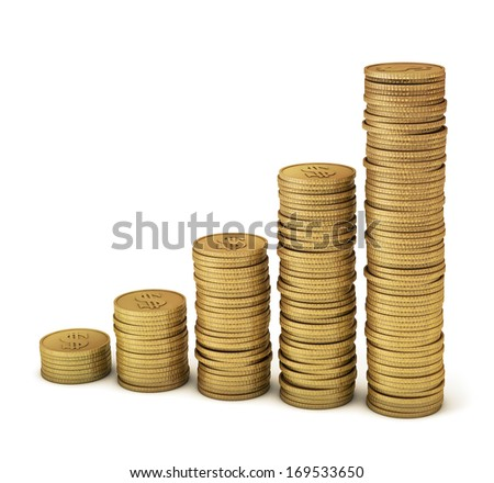 Gold coins symbolizing financial growth, increased profits, inflation, higher prices, etc. Clipping path included for easy selection. - stock photo