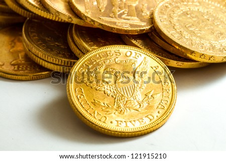 Gold coins treasure