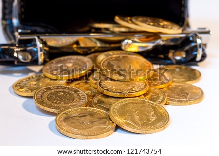 Gold coins treasure in purse