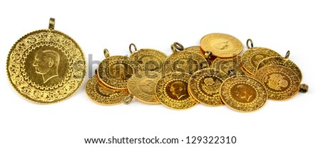 Gold coins. ( Turkish gold coins ). - stock photo