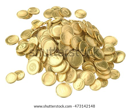 Gold coins with abstract image. With the par value of one, five and ten. 3d image isolated on white