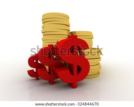 Gold coins with dollar - stock photo