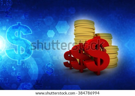 Gold coins with dollar