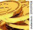 Gold coins with dollar sign - stock photo