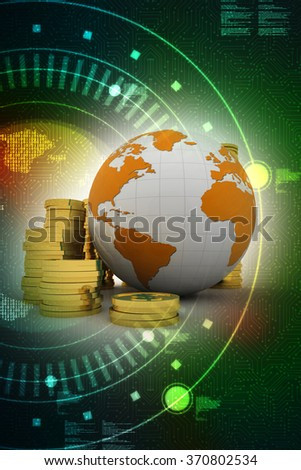 Gold coins with globe - stock photo