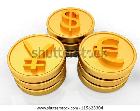 gold coins with 3 major currencies - stock photo