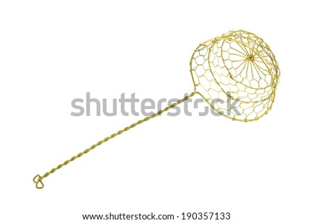 Gold colander for scald food is kitchenware isolated with white background.