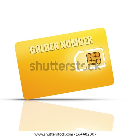 Gold collection. Blank sim card isolated on white background High resolution 3d