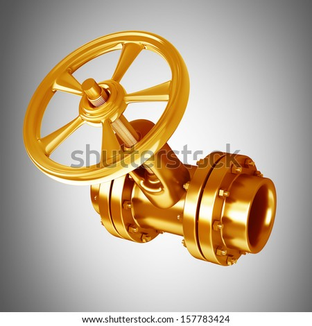 Gold collection. gas pipe with  valve High resolution 3D  - stock photo