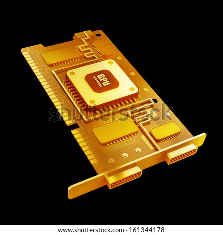 Gold collection. graphic card GPU High resolution 3d  - stock photo