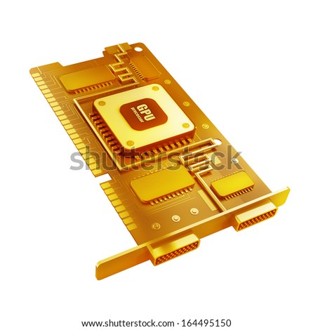 Gold collection. graphic card GPU isolated on white background High resolution 3d  - stock photo