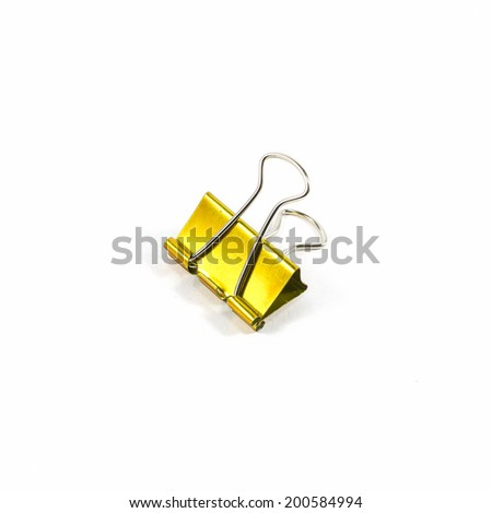 gold color clips isolated on white background - stock photo
