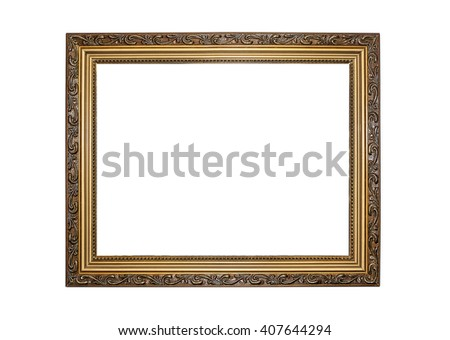 Gold color picture frame isolated on white. - stock photo