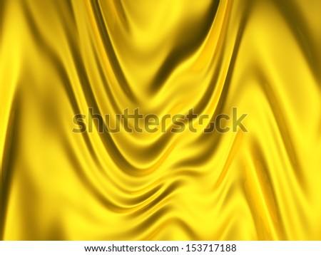 Gold color silk background 3d illustration - stock photo