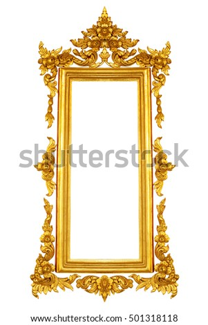 Gold color  vintage frame isolated on white background