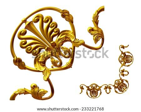 gold colored, ornamental Segment for corner  - stock photo