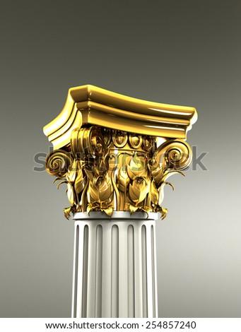 Gold Column Pedestal - stock photo