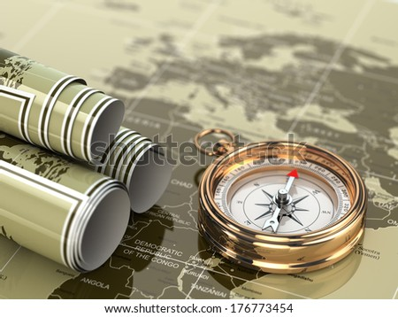 Gold compass  on world map background. 3d - stock photo