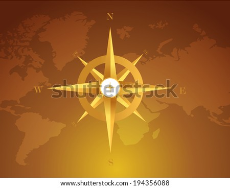 gold compass over a world map brown background - stock photo