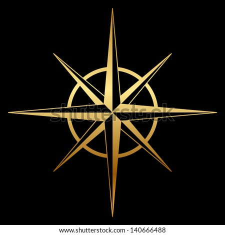Gold compass rose icon - stock photo