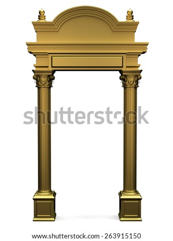 Gold Composite Antique Greek Arc Isolated on White - stock photo