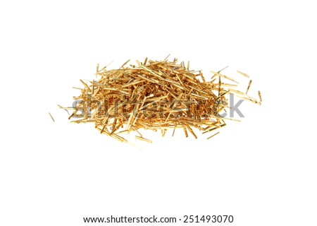 gold computer Scrap, connection pins, computer chips, wires, and various parts. Gold is an excellent conductor of electricity and is used in computers for super speed and efficiency.  - stock photo