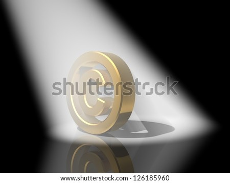Gold copyright symbol - stock photo