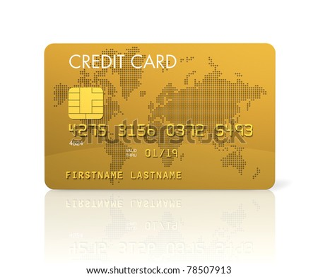 Gold credit card, 3D render isolated on white - stock photo