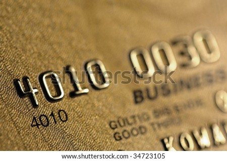 Gold credit card, detail - stock photo