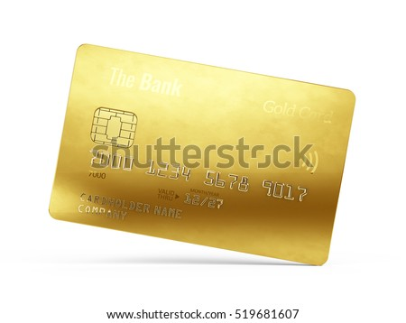 Gold credit card isolated on white background. 3d render
