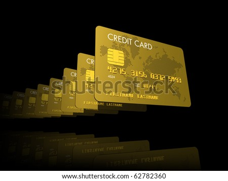 Gold credit cards serie, 3D render isolated on black - stock photo