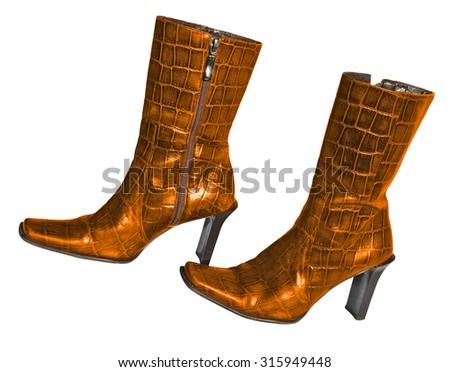 Gold crocodile leather boots - stock photo